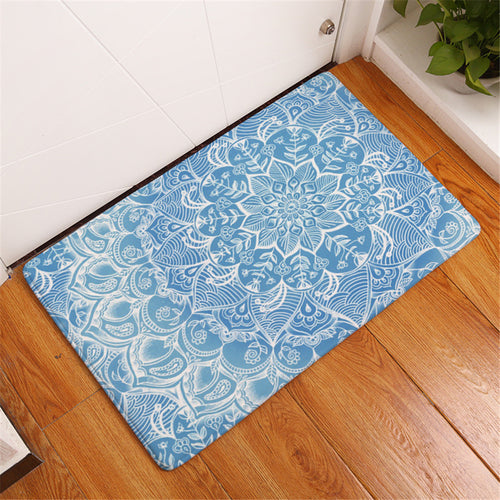 Light Blue Mandala Floor Mat