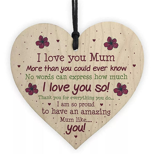 I Love You Mum Wooden Heart Gift Tag