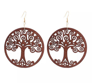 Wooden Earrings - Tree of Life - Brown