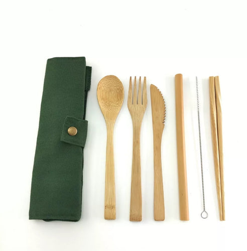 Eco- Friendly Bamboo 7 piece Cutlery Set- Green