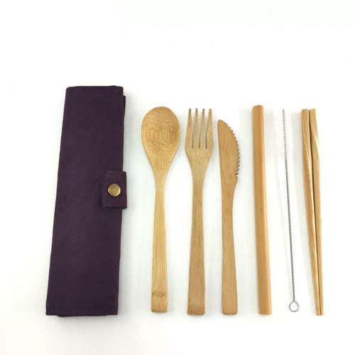 Eco- Friendly Bamboo 7 piece Cutlery Set- Purple