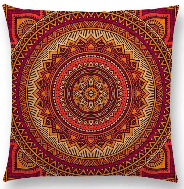 Mandala Cushion Cover- Orange