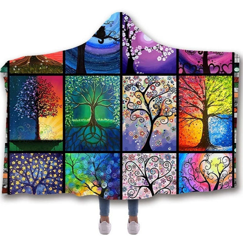 Chakra Tree of Life Hooded Blanket