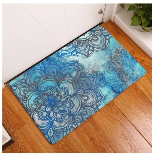 Blue Mandala Dreaming Floor Mat