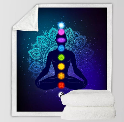 Blue Chakra Balance Throw Blanket