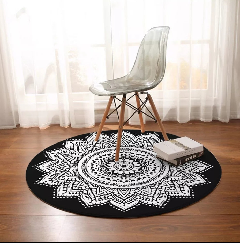 Black & White Mandala Round Floor Mat