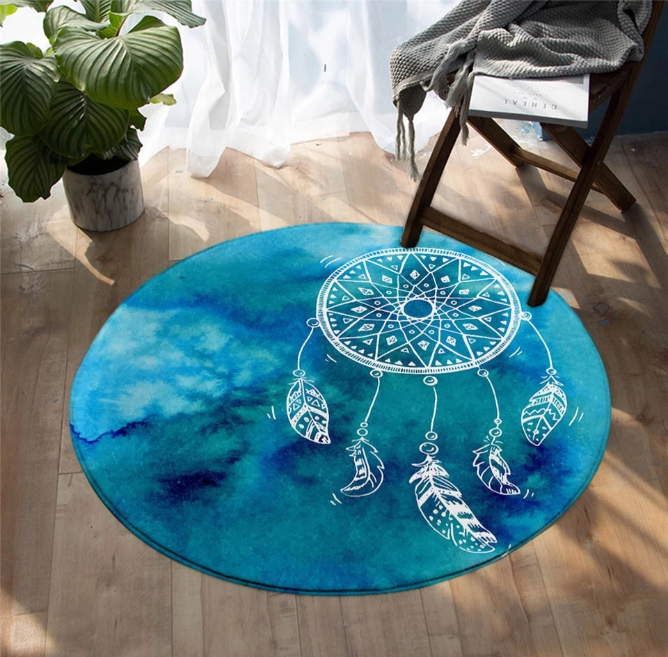 Sky Blue Dreamcatcher Round Floor Mat