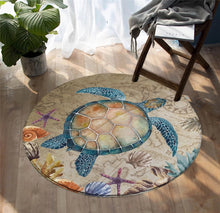 Load image into Gallery viewer, Sea Turtle Round Floor Mat
