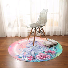Load image into Gallery viewer, Unicorn Roses Round Floor Mat
