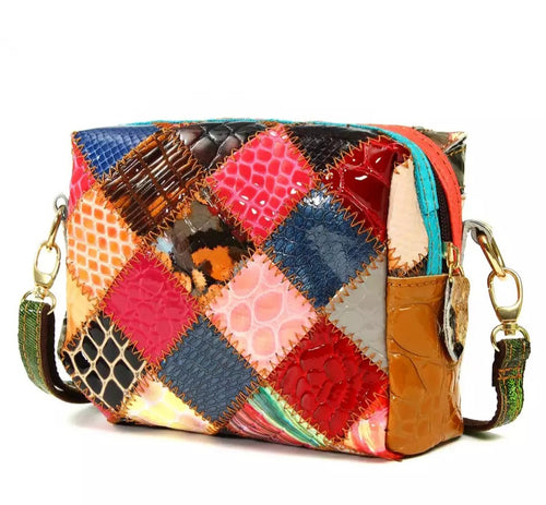 Small Square Leather Patchwork Bag