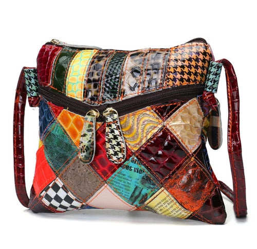 Leather Patchwork Bag- Mandy