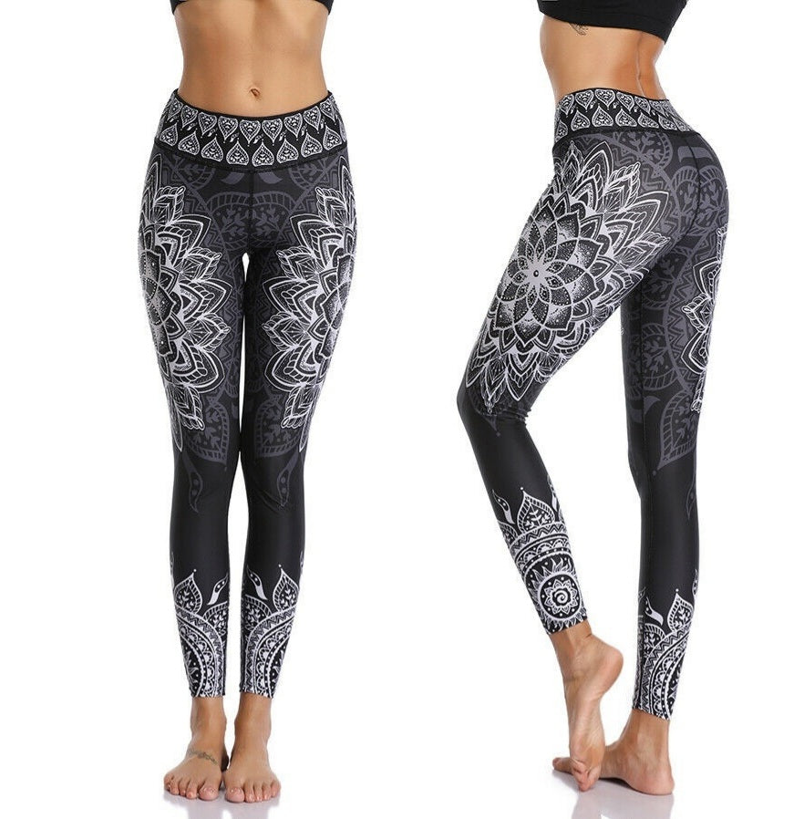Black & White Mandala Yoga Pants Leggings