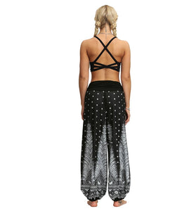 Black Feathers Boho Harem Pants