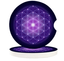 Load image into Gallery viewer, Flower of Life Ceramic Car Coasters