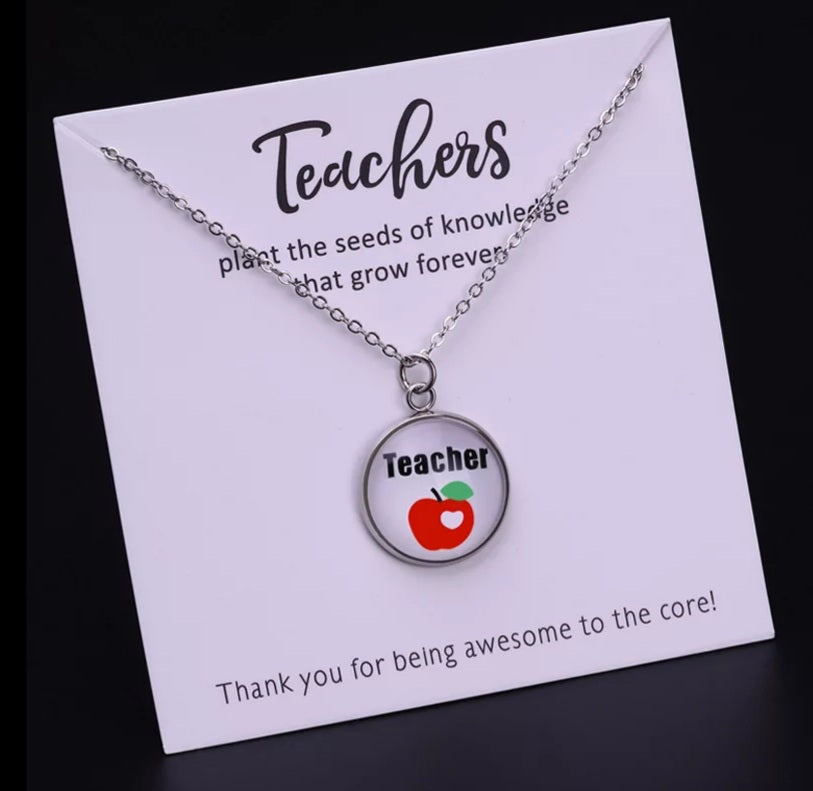 Teacher Gift Card & Necklace Apple