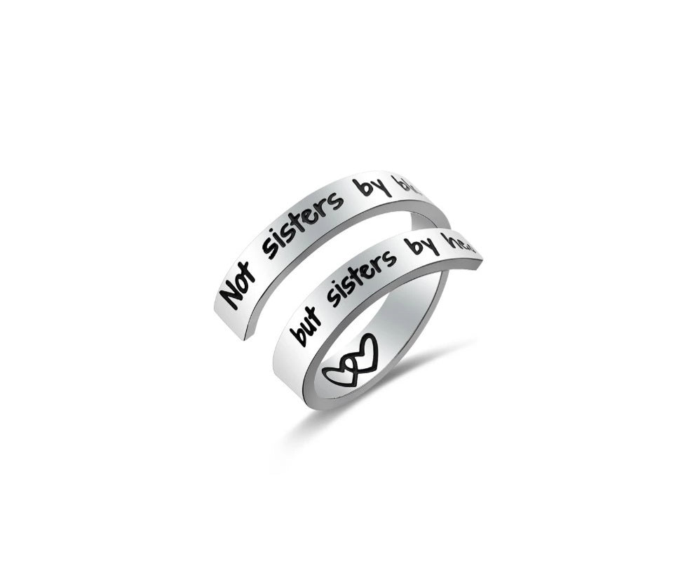 Inspirational Quote- Sisters by Heart Ring