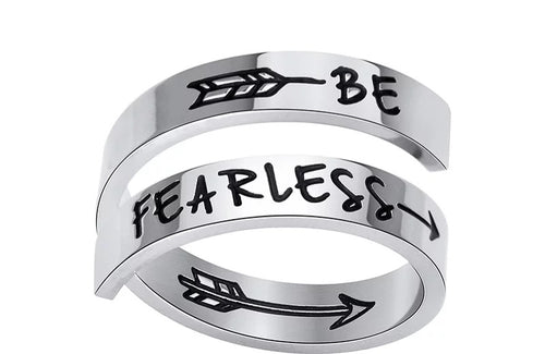 Inspirational Quote- Be Fearless Stainless Steel Ring