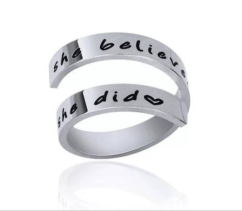 Inspirational Quote-She believed she could so she did Ring