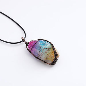 Chakra Rainbow Quartz Crystal Necklace