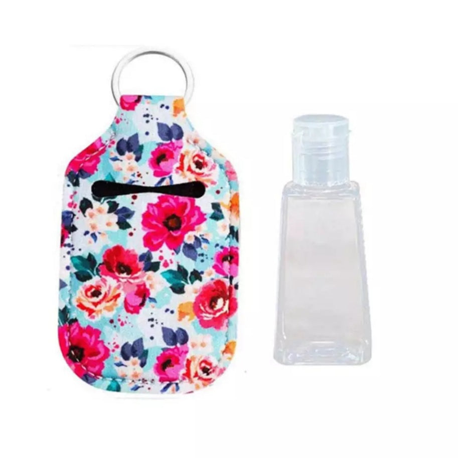 Hand Sanitiser Keyring Travel Bottle - Flowers