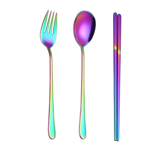 Rainbow Stainless Steel Cutlery & Chopstick Set