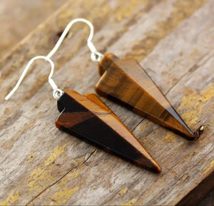 Tiger's Eye Arrowhead Earrings