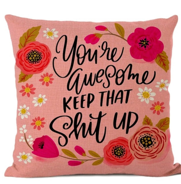 Swear words Cushion Cover- You're Awesome