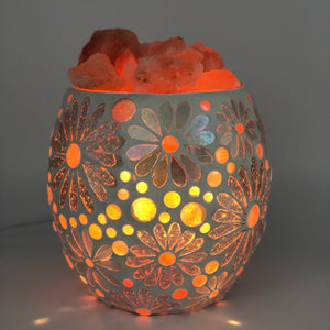 White Flower Mosaic Salt Lamp