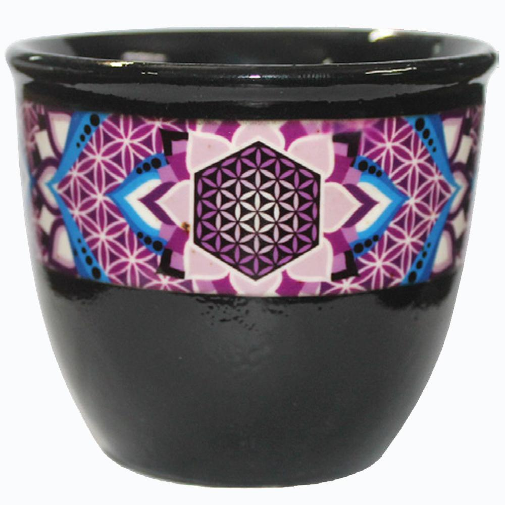 Ceramic  Smudge Bowl - FLOWER OF LIFE -( large)