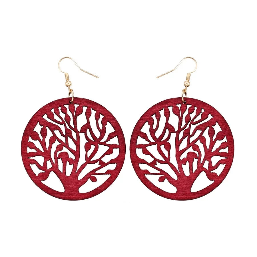 Wooden Tree Earrings- Red
