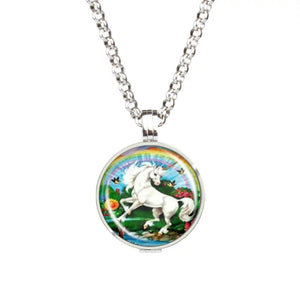 Rainbow Unicorn Glass Aromatherapy Necklace