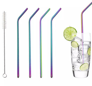 Eco Friendly 4Pcs Stainless Steel Rainbow Reusable Drinking Straw + 1 Cleaner Brush Set