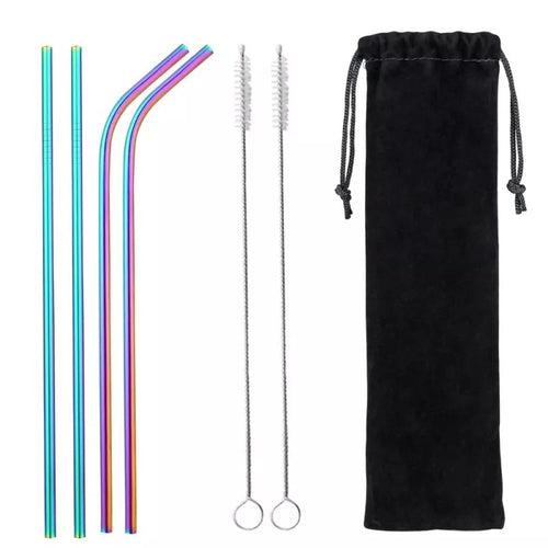 Eco Friendly 4Pcs Rainbow Stainless Steel Straw Set