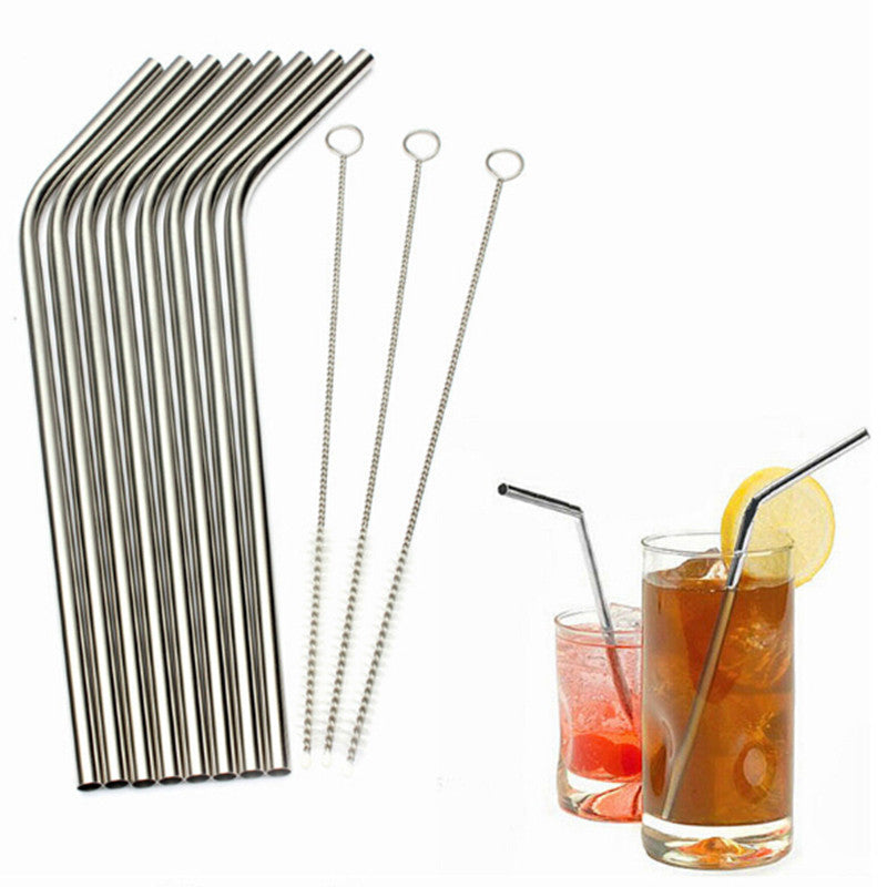 Eco Friendly 6Pcs Stainless Steel Reusable Drinking Straw + 1 Cleaner Brush Set.