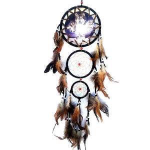 Indian WOLF Dreamcatcher with Feathers