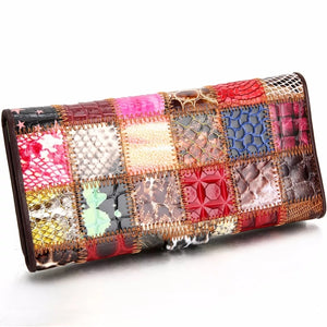 Genuine Leather Patchwork Purse