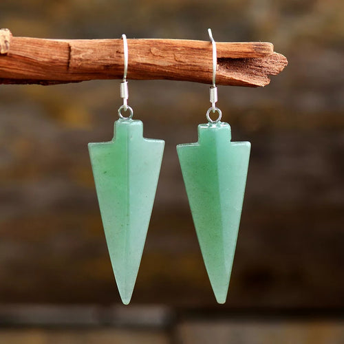 Green Aventurine Arrowhead Earrings
