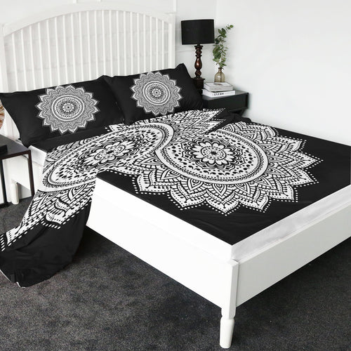 Black & White Mandala Bed Sheet set