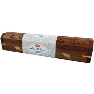 Wooden Incense Box with White Sage Incense