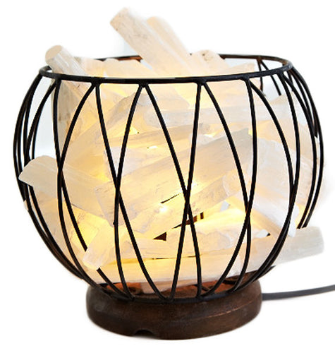 SELENITE CRYSTAL CAGE FIRE BALL LAMP