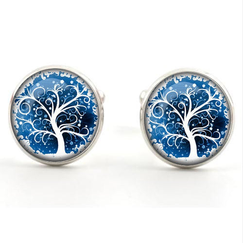 Tree Of Life Glass Cabochon Stud Earrings