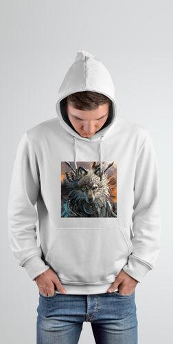 Wolf Warrior Hooded Jumper- White