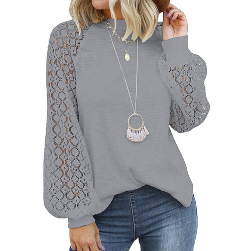 Serenity Casual Lace Jumper- Grey