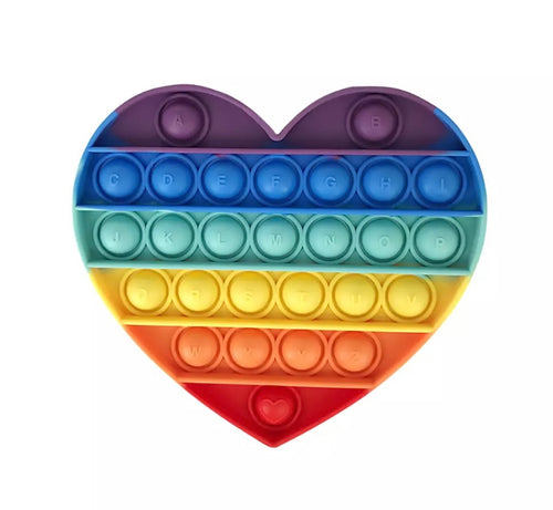 POP It Sensory Bubble Fidget Toy- Rainbow Heart