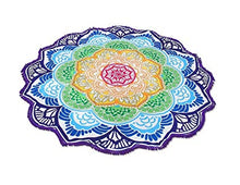 Load image into Gallery viewer, Bright & Colourful Large Round Lotus Mandala boho style Tapestry