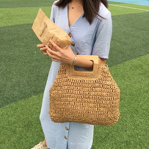 Large Straw Tote Bag with Wooden Handle