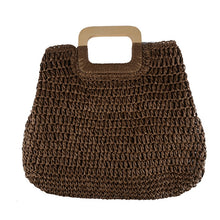 Load image into Gallery viewer, Large Straw Tote Bag with Wooden Handle