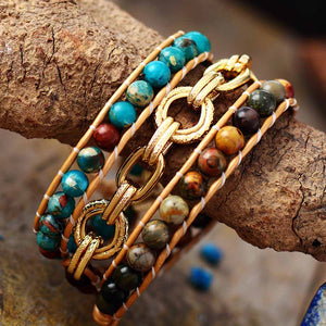 Jasper Leather wrap Bracelet with Chain