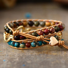 Load image into Gallery viewer, Jasper Leather wrap Bracelet with Chain