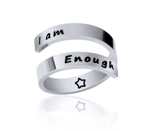 Inspirational Quote- I am Enough Ring